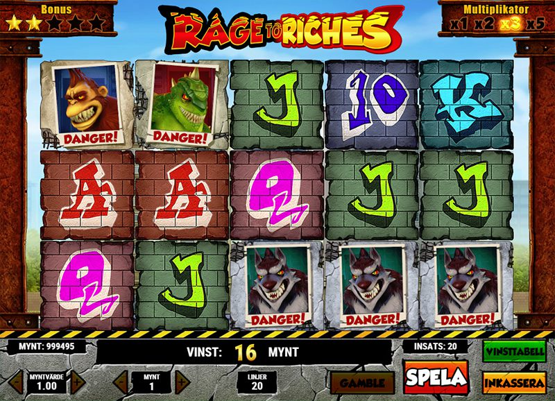 Spännande spelupplägg i Rage to Riches